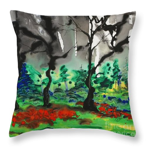 Forest Throw Pillow featuring the painting Primary Forest by Nadine Rippelmeyer