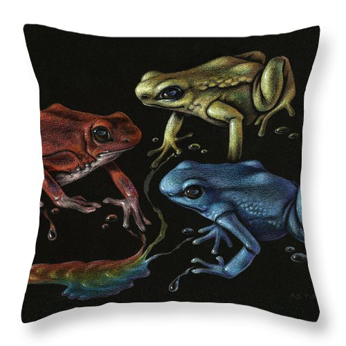Frog Throw Pillow featuring the drawing Primary Poison by Amy S Turner