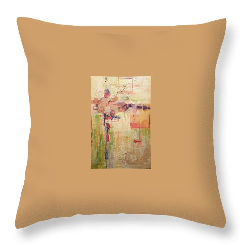 Mixed Media Abstracts Throw Pillow featuring the painting Primavera by Ginger Concepcion