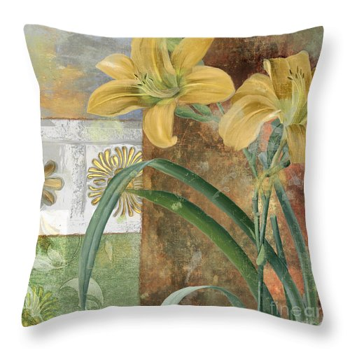 Lily Throw Pillow featuring the painting Primavera II by Mindy Sommers