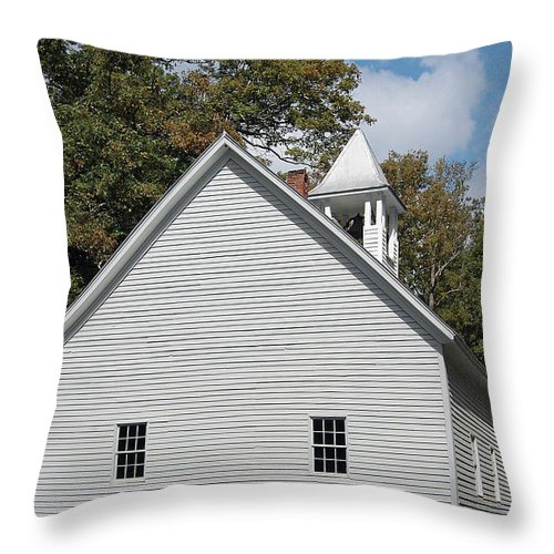 Cades Cove Throw Pillow featuring the digital art Primitive Baptist Church Est 1827 by DigiArt Diaries by Vicky B Fuller