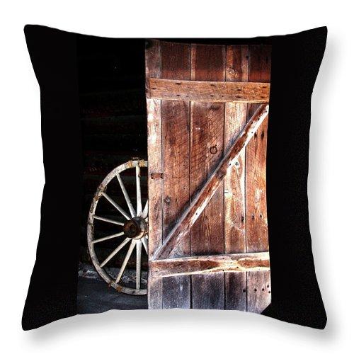 Door Throw Pillow featuring the digital art Primitive by Kim Henderson