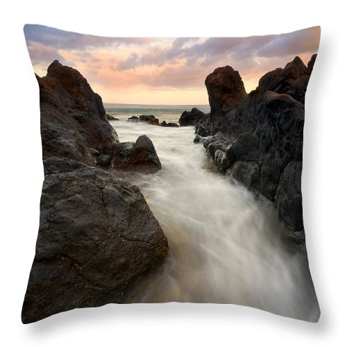 Sunrise Throw Pillow featuring the photograph Primordial Tides by Mike Dawson