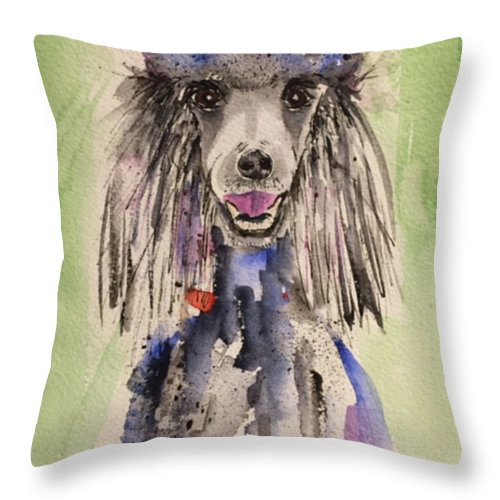 Dog Throw Pillow featuring the painting Primp by Bonny Butler