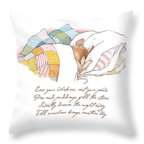 Brambly Hedge Throw Pillow featuring the drawing Primrose Goes To Sleep by Brambly Hedge