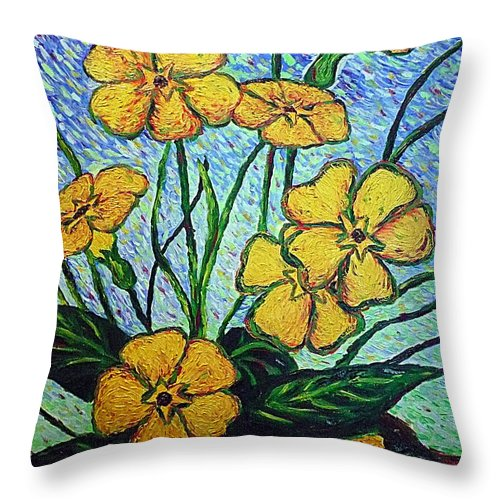 Flowers Throw Pillow featuring the painting Primula Veris by Ericka Herazo