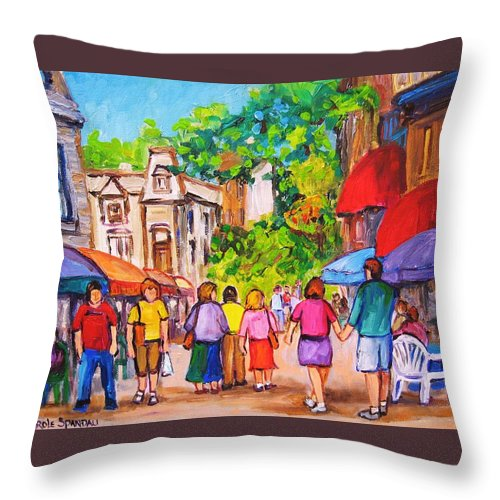 Rue Prince Arthur Montreal Street Scenes Throw Pillow featuring the painting Prince Arthur Street Montreal by Carole Spandau