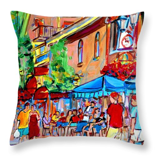 Cafes Throw Pillow featuring the painting Prince Arthur Street Summer by Carole Spandau