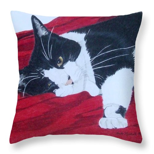 Cat Throw Pillow featuring the painting Prince Charming by Anita Putman