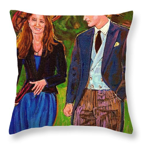 Wills And Kate Throw Pillow featuring the painting Prince William And Kate The Young Royals by Carole Spandau