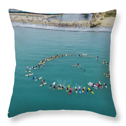 Above Throw Pillow featuring the photograph Princes Of Surf Paddle-out by David Levy