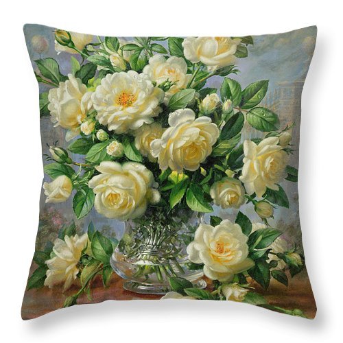 In Honour Of Lady Diana Spencer (1961-97); Still Life; Flower; Rose; Arrangement; Princess Of Wales (1981-96); Homage; Yellow; Flowers; Leafs Throw Pillow featuring the painting Princess Diana Roses In A Cut Glass Vase by Albert Williams