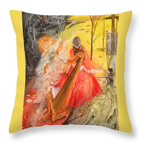 Princess Throw Pillow featuring the painting Princess Rebecca - Keeper of the Golden Harp by Jackie Mueller-Jones