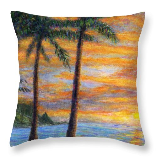 Coastal Decor Throw Pillow featuring the painting Princeville Beach Palms by Kenneth Grzesik