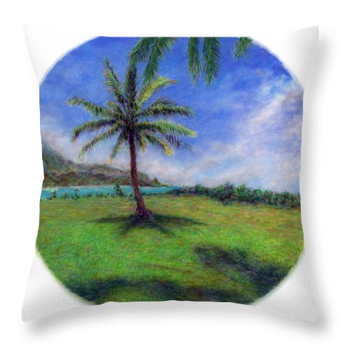 Rainbow Colors Pastel Throw Pillow featuring the painting Princeville Palm by Kenneth Grzesik