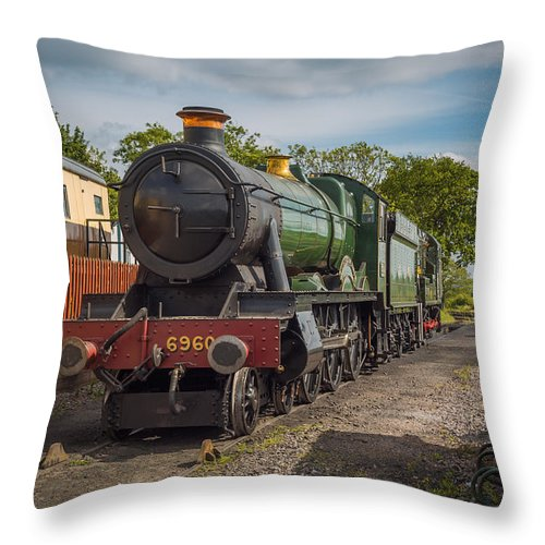 6960 Throw Pillow featuring the photograph Print Of Gwr 6960 'raveningham Hall, Sits At Bishops Lydeard On by Daily Rail