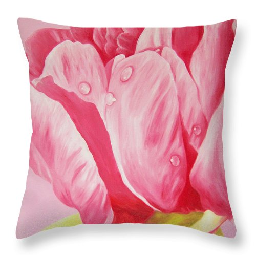 Fine Art Throw Pillow featuring the painting Prints Art For Sale Floral Oil Painting Pink by Diane Jorstad