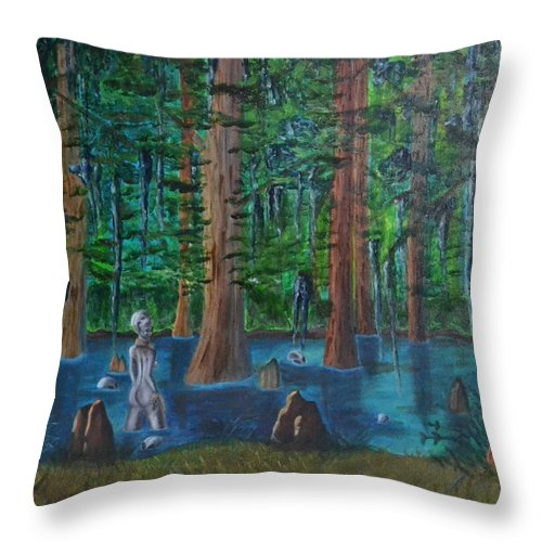 Lake Throw Pillow featuring the painting Prisoner Of Destiny by Vykky Gamble