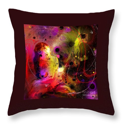 Nudes Throw Pillow featuring the painting Prisoner Of The Past by Miki De Goodaboom