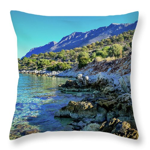 Landscape. Seascape. Blue Sea. Blue Sky. Pristine Nature. Throw Pillow featuring the photograph Pristine #2 by Yau Ming Low