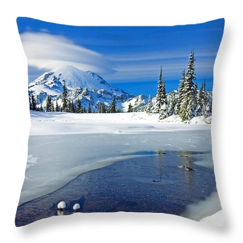 Rainier Throw Pillow featuring the photograph Pristine by Mike Dawson