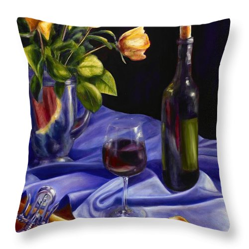 Still Life Throw Pillow featuring the painting Private Label by Shannon Grissom