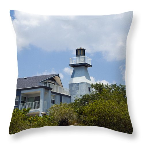 Light; Lighthouse; Private; Beacon; Keeper; Harbor; Harbour; Sail; Sailing; Boats; Boat; Craft; Anch Throw Pillow featuring the photograph Private Lighthouse On The Indian River Lagoon In Melbourne Florida by Allan Hughes
