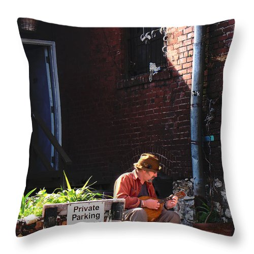 City Scape Throw Pillow featuring the photograph Private Parking by Steve Karol