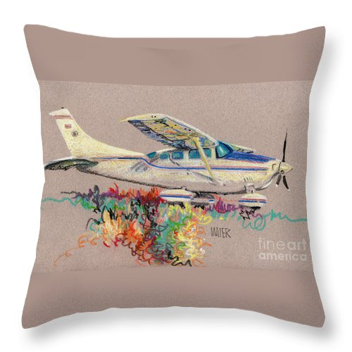 Small Plane Throw Pillow featuring the drawing Private Plane by Donald Maier