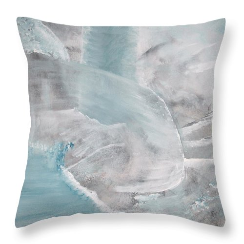 Abstract Acrylic Darkestartist Landscape Painting Waterfall Blue Water Throw Pillow featuring the painting Private Waterfall by Darkest Artist