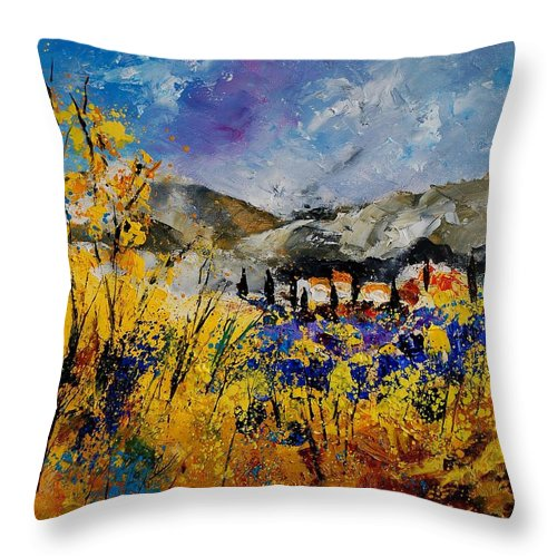 Poppies Artwork Throw Pillow featuring the painting Procence 569011 by Pol Ledent