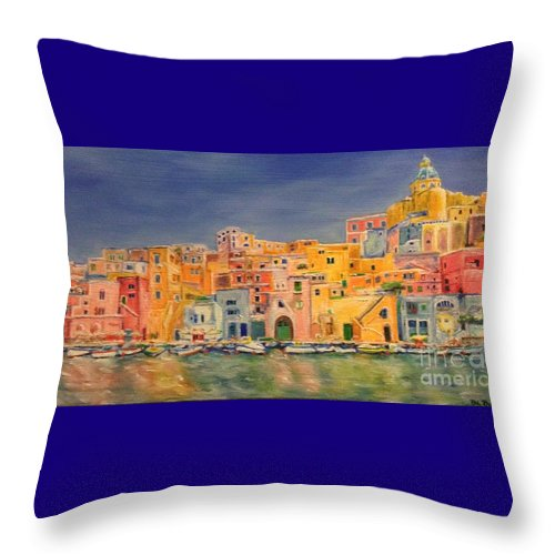 The Town Of Procida Throw Pillow featuring the painting Procida, Italy by Diane Donati