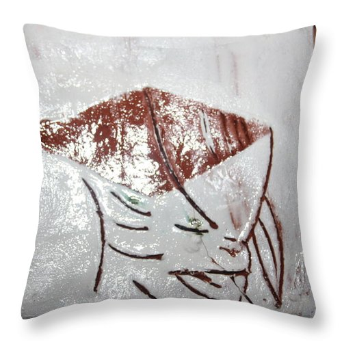 Jesus Throw Pillow featuring the ceramic art Prof - Tile by Gloria Ssali