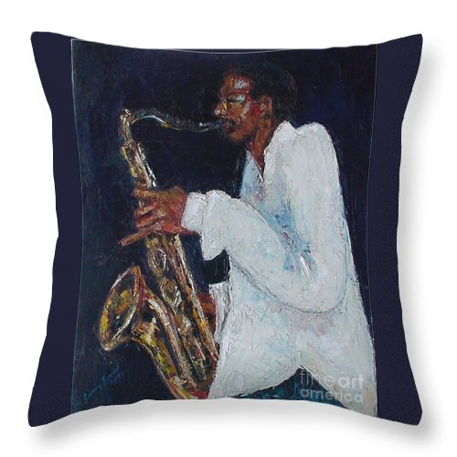 Palette Knife Throw Pillow featuring the painting Proffessor Daddyo by Beverly Boulet
