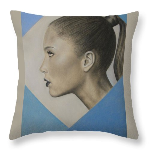 Woman Throw Pillow featuring the painting Profile by Lynet McDonald