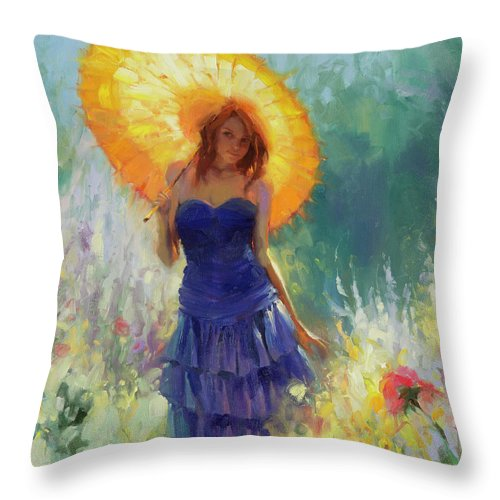 Woman Throw Pillow featuring the painting Promenade by Steve Henderson