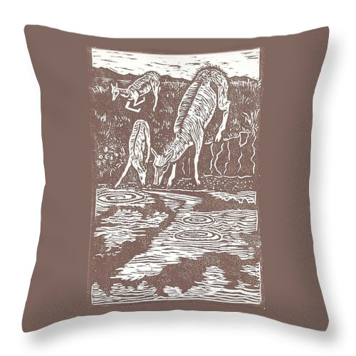 Animal Throw Pillow featuring the drawing Pronghorns At Waterhole by Dawn Senior-Trask