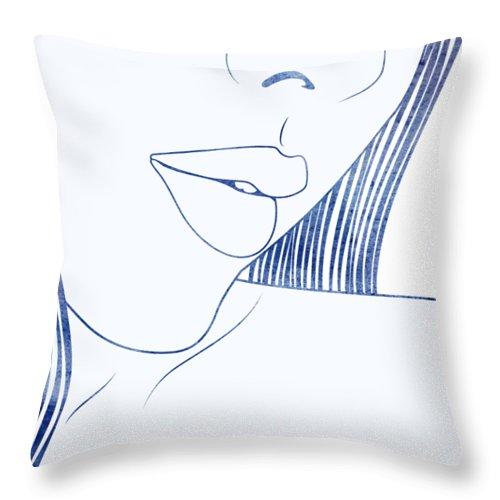 Aqua Throw Pillow featuring the mixed media Pronoe by Stevyn Llewellyn