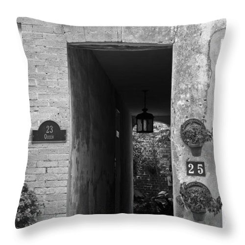 Property Lines Downtown Charleston South Carolina Lowcountry Homes Houses Black White Dustin Ryan Throw Pillow featuring the photograph Property Lines by Dustin K Ryan