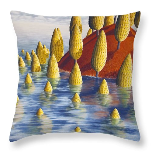 Tree Throw Pillow featuring the painting Protea Madida by Patricia Van Lubeck