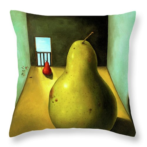 Pear Throw Pillow featuring the painting Protecting Baby 8 The Safety Gate by Leah Saulnier The Painting Maniac