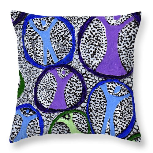 Symbolic Throw Pillow featuring the painting Protection Isolation by Wayne Potrafka