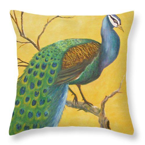 Peacock; Birds; Fall Leaves Throw Pillow featuring the painting Proud As A Peacock by Ben Kiger