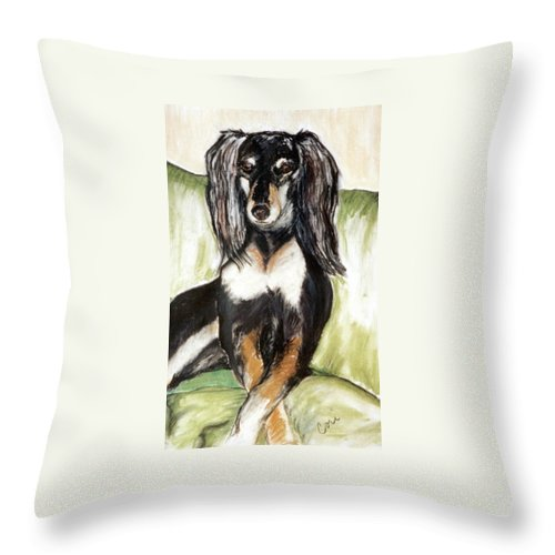 Dog Throw Pillow featuring the drawing Proud Girl by Cori Solomon