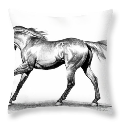Thoroughbred Throw Pillow featuring the drawing Proud by Howard Dubois