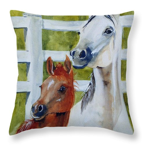Equine Throw Pillow featuring the painting Proud Mama by Jean Blackmer