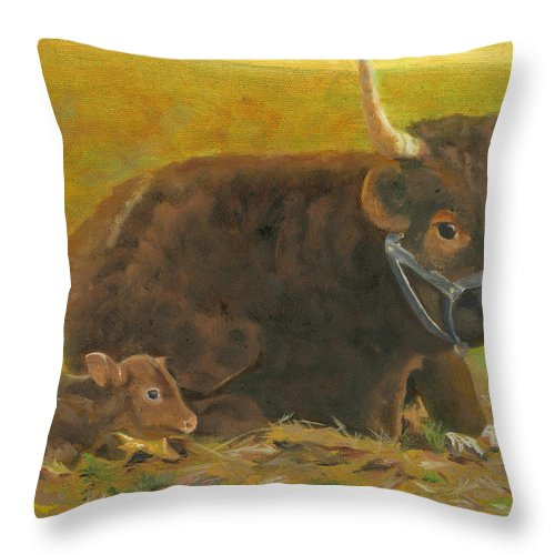 Cow Calf Bull Farmscene Throw Pillow featuring the painting Proud Pappa by Paula Emery