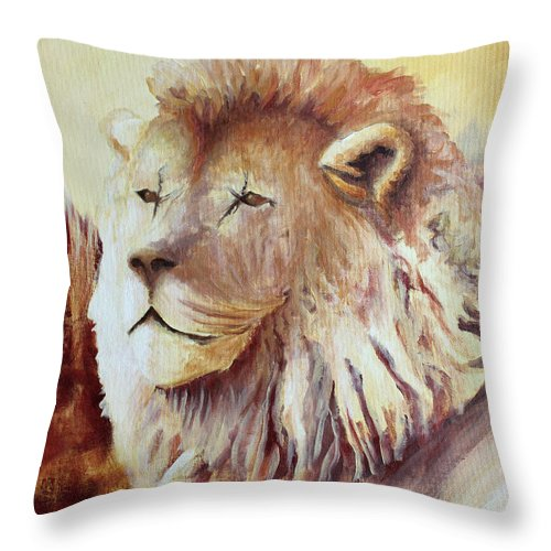 Animal Throw Pillow featuring the painting Proud by Todd Blanchard