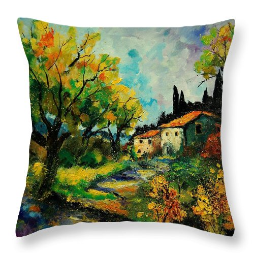 Landscape Throw Pillow featuring the painting Provence 670110 by Pol Ledent