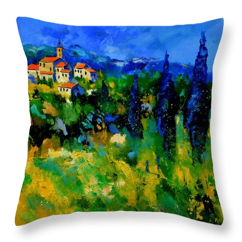 Landscape Throw Pillow featuring the painting Provence 768110 by Pol Ledent